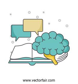 book with speech bubbles and brain, colorful design