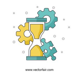hourglass with gear wheels and jigsaw piece, colorful design
