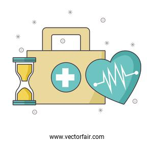 first aid kit with hourglass and cardio heart