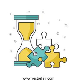 hourglass with jigsaw pieces , colorful design