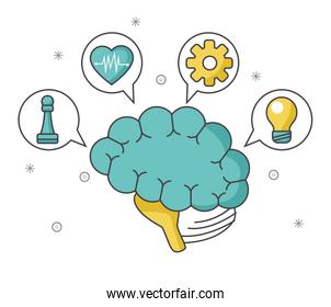 brain with speech bubbles and icons