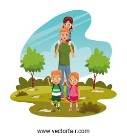 man carrying a boy on his shoulders and kids in the park, colorful design