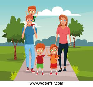 happy family with kids walking in the park, colorful design