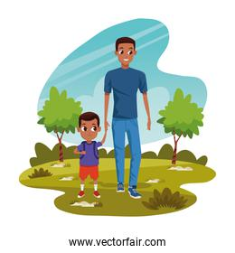 Happy man with his son in the park, colorful design