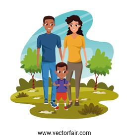 Cartoon man and woman with little boy in the park, colorful design