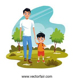 man with little boy in the park, colorful design