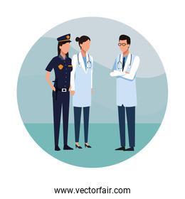 Police woman with doctors standing, colorful design