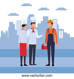 Chefs couple and builder man standing, colorful design