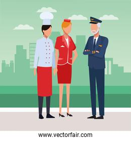 Chef, air hostess and pilot standing
