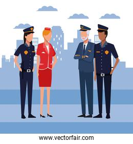 police couple with pilot and stewardess standing