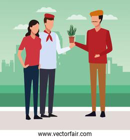 Couple and artist holding a plant, colorful design