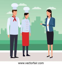 chef woman and man and businesswoman standing, colorful design
