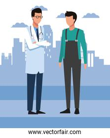 Avatar doctor and man standing, colorful design