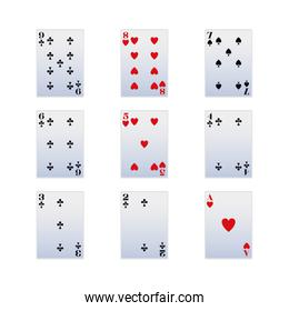 Gambling cards icon set over white background, colorful design