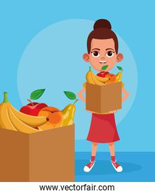 cartoon girl with paper boxes with fruits, colorful design