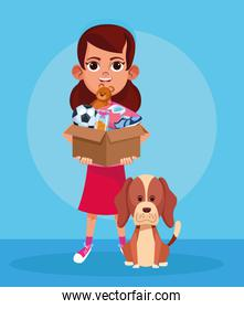 cartoon girl with donation stuffs box and cute dog