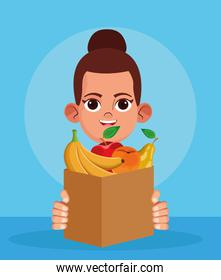 cartoon woman with paper bag with fruits, colorful design