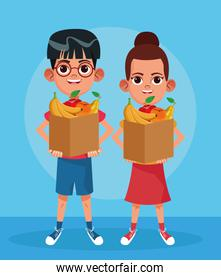 cartoon boy and woman standing holding a paper bags with fruits