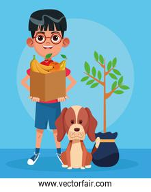 cute dog, plant and cartoon boy holding a paper bag with fruits