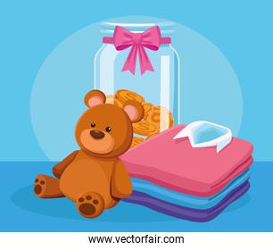 cute bear, money box and stack of men shirts, colorful design