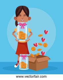 cartoon girl with bottles with money coins and box with coins and hearts