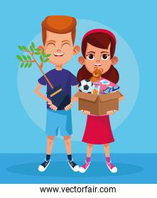 cartoon boy holding a plant and woman with box with donation stuffs