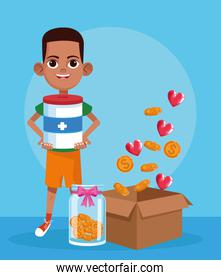 cartoon boy with donation tin, bottle with coins and box