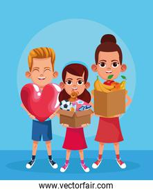 Cartoon boy with big heart and girls holding a boxes with donation stuffs, colorful design