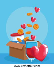 blood bag, heart and box with donation tin, money coins and hearts, colorful design