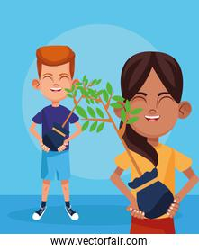 cartoon boy and girls with plants, colorful design