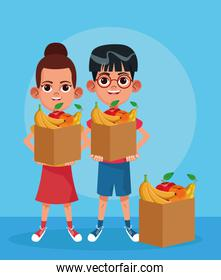 cartoon boy and girl with boxes with fruits