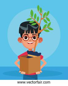 cartoon boy holding a box with a plant, colorful design