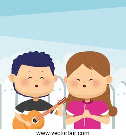 cartoon boy playing guitar and singing a girl, colorful design