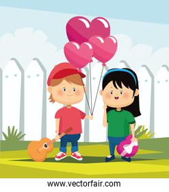 cartoon boy with hearts balloon and guitar and cute girl in love, colorful design