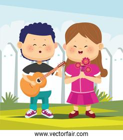 cartoon boy playing guitar and singing a girl with flowers