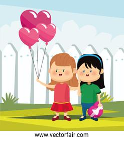cartoon girls with heart balloons and chocolate box, colorful design