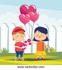 cute boy with flowers and girl with heart ballons, colorful design