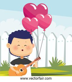 cartoon boy with hearts balloons and singing