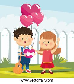 cute girl and boy in love with heart balloons and guitar, colorful design