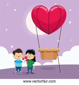 happy couple and heart hot air balloon, colorful design