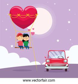 happy couple on heart swing and classic car, colorful design