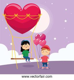 happy boy with hearts balloons and girl on heart swing