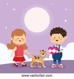 happy boy and girl with cute dog, colorful design