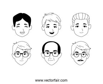 icon set of cartoon men faces of different ages, flat design