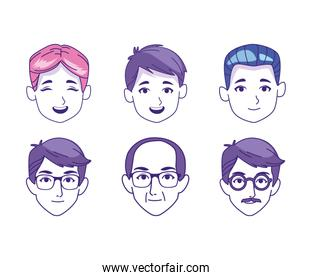 icon set of cartoon men faces of different ages, colorful design