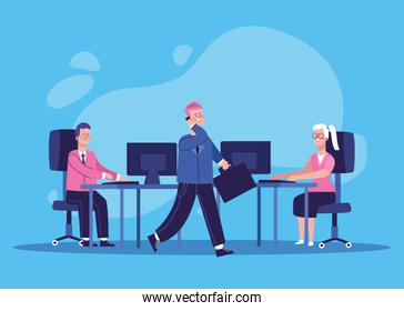 cartoon businesspeople at office desk with computers, colorful design