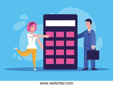 woman and businessman with big calculator