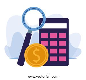 magnifying glass, money coin and calculator, colorful design