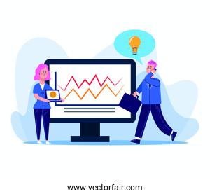 cartoon woman and businessman with computer with graphic chart