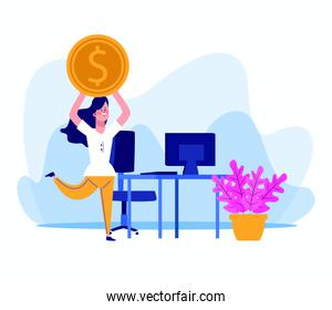 cartoon woman with money coin and office desk with computer
